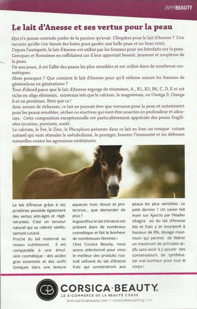 Parution Zappy Mag Savon au lait frais d'ânesse Corsica Beauty Atelier Altagna Corse